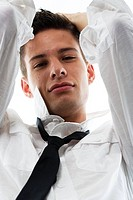 Man, young, shirt, necktie, portrait, from below, series, people, young, leisurewear, cool, nonchalant, casual, sexy, put on, expectation, seduction, ...