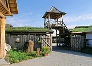 Poland, Chojnice, ridercourt, gate, tower, summer, tourism, farm, Reitstall, ranch, fence, Bretterwand, shingle-roof, gate tower, watchtower, wood-gat...