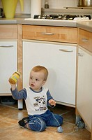 Kitchen, toddler, floor, sitting, baby-little glass, holding, series, people, child, boy, tile-ground, baby-bottle, glass, baby food, childhood, innoc...
