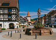 Germany, Black forest, Gengenbach, market, Obertorturm, wells, Baden-Württemberg, Kinzigtal, wells, knight, Geharnischter, builds coats of arms, sight...