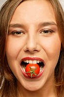 Woman, young, mouth, tomato, portrait, broached, series, people, woman-portrait, vegetables, cocktail-tomato, teeth, symbol, eating taste, pleasure he...