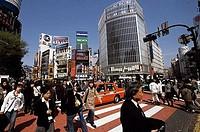 Group of people crossing the road, Shibuya, Tokyo, Japan