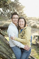 Asian couple hugging