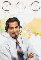 Indian businessman wearing headset
