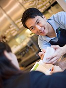 Cafe Worker Taking Customer´s Order