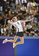 Volleyball Player Striking Mid-Air