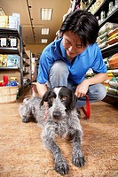 Asian man petting dog in pet store