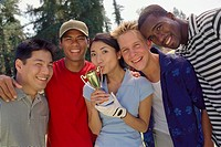 Ethnic-ethnic friends with trophy