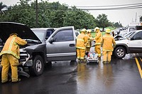 Firefighters at accident scene