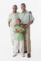 Portrait of African American grandfather, father and son
