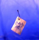 A note reading Call Me! hangs from a fishing line underwater
