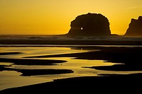 Twin Rocks at sunset near Rockaway Beach. Northern Oregon coast, USA
