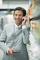 Businessman in grocery store