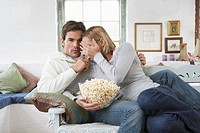 Couple watching scary movie