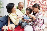 Family playing with flashcards