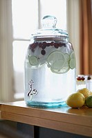 Flavored water in jar