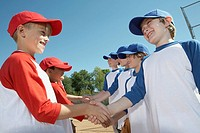 Baseball teams shaking hands