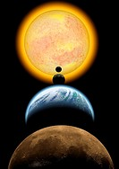 Solar system. Mars, Earth, Venus, Mercury, Sun