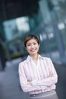 Businesswoman outdoors looking at camera