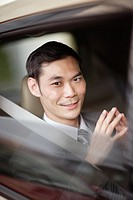 Businessman sitting in car