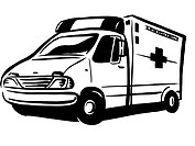 Black and white drawing of an ambulance