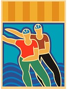 Illustration of two people inline skating