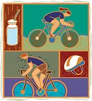 Illustration of two cyclists
