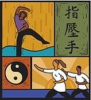 Illustration of people doing tai chi and martial arts