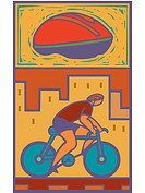 illustration of a man riding a bike