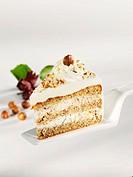 A piece of nut cake on a cake server