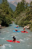 Whitewater, kayaking, on, river, near, Briancon, France