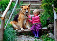 Little, girl, and, Mixed, Breed, Dog,
