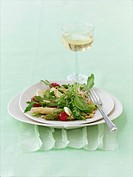 Asparagus salad with elderflower and nut vinaigrette