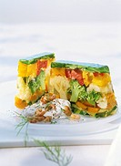Two slices of vegetable aspic with yoghurt sauce & shrimps