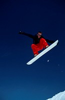 Snowboarder, jumping, Switzerland, freistellbar