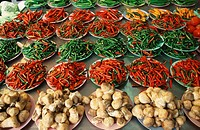 Red, and, green, Chilies, and, Curkuma, at, market, stall, Din, Daeng, Bangkok, Thailand, Capsicum, spec , Curcuma, longa