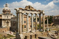 Italy, Rome, Roman Forum with temple of Vespasian, Church of Santi Luca e Martina and Temple of Saturn