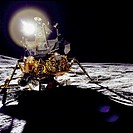 A front view of the Apollo 14 Lunar Module Antares, which reflects a circular flare caused by the brilliant sun. The unusual ball of light was said by...