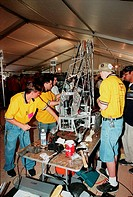 03/10/2000 ___ Voltage: The South Brevard FIRST Team 386 works on their robot, Sparky. The team of students from Eau Gallie, Satellite, Palm Bay, Melb...