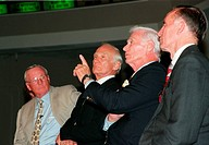 07/16/1999 __ At a media conference in the Apollo/Saturn V Center, former Apollo astronaut Gene Cernan, who flew on Apollo 10 and 17, makes a point in...