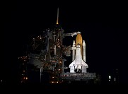 11/30/2000 ___ After rollback of the Rotating Service Structure, Space Shuttle Endeavour is spotlighted against the still_black sky of pre_dawn. At th...
