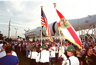 08/06/2000 ___ An international gathering of police officers march in a parade at the KSC Visitor Complex during opening ceremonies of the 2000 Intern...