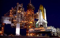 03/23/2002 __ The payload canister with the S0 Integrated Truss Structure arrives at the launch pad for transfer to Space Shuttle Atlantis´s payload b...