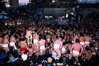Crowd, Steam, Naked men, January 13-14, Kokufu naked festival, Inazawa, Aichi, Japan