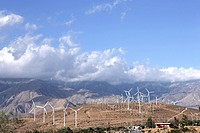 Windmills on mountainous landscape
