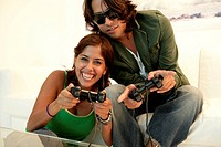 View of a couple playing video game