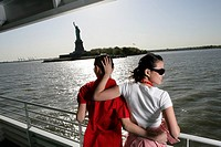 Young couple aboard a ferry in the Hudson River (thumbnail)