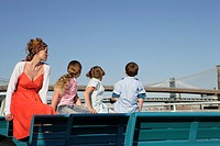 Young family on a ferry