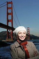 Woman in front of Golden Gate Bridge