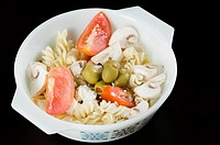 High angle view of a bowl of salad